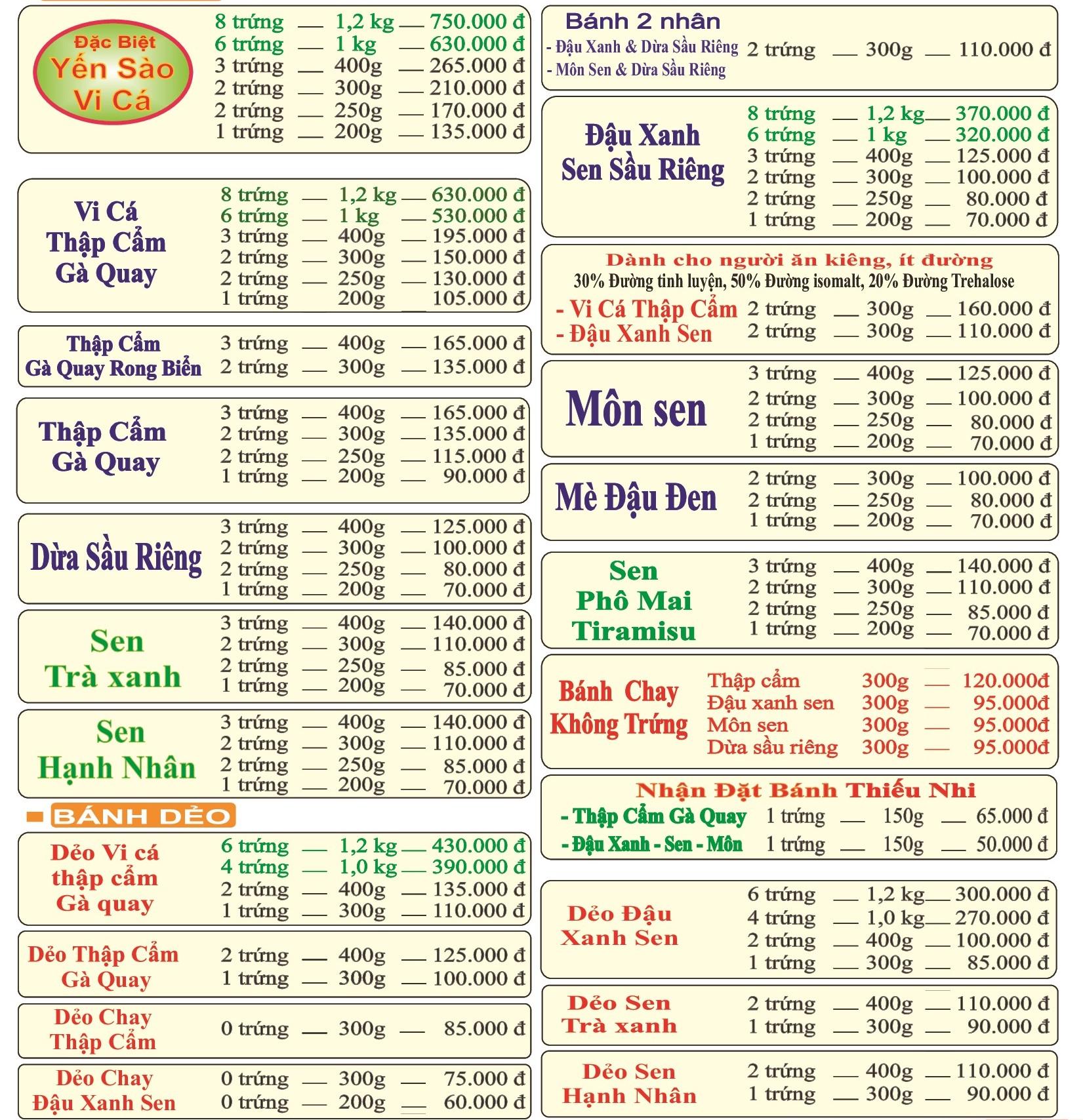 Bảng giá bánh trung thu Như lan